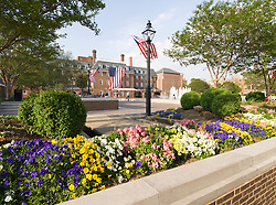 Washington DC; USA: Alexandria's Old Town, historic town square, with elaborate flower plantings.Photo copyright Lee Foster Photo # 34-washdc79420