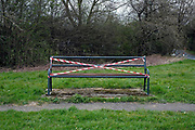 A bench taped off due to the Coronavirus (Covid-19) pandemic lockdown on 31 March 2020 in Brompton, North Yorkshire, United Kingdom. Since the UK government imposed a countrywide lockdown on the evening of 23rd March in the village of Brompton the benches have been blocked off to discourage walkers on their daily exercise to take a rest. (photoby Tessa Bunney/In Pictures via Getty Images)