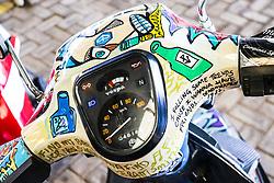July 8, 2017 - Encontro de Vespas em Sorocaba (SP). Vespa é uma motocicleta da categoria scooter fabricada inicialmente na Itália pela Piaggio na década de 40. A Vespa chegou a ser montada no Brasil na década de 80. Foto de uma Vespa personalizada. (Credit Image: © Cadu Rolim/Fotoarena via ZUMA Press)