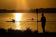Covid-19 Level 3 - New Zealand Olympic sprint canoeist Caitlin Ryan, trains at Lake Pupuke, Takapuna, during the 1st day of Covid-19 Level 3 Lockdown. Auckland, New Zealand.  28  April  2020       Photo: Brett Phibbs / www.photosport.nz