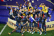 France lifting the World Cup celebrating with in the center France goalkeeper and captain Hugo Lloris after the 2018 FIFA World Cup Russia, final football match between France and Croatia on July 15, 2018 at Luzhniki Stadium in Moscow, Russia - Photo Stanley Gontha / Proshots / ProSportsImages / DPPI