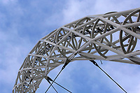 Photo: Daniel Hambury.<br /> Wembley Stadium. 14/06/2006.<br /> A detail view of the famous arch which stretches accross the new home of English football, Wembley.