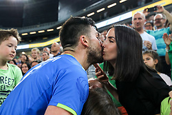 Mitja Gasparini of Slovenia with his wife after volleyball match between National teams of Slovenia and Belgium in 2nd Round of 2018 FIVB Volleyball Men's World Championship qualification, on May 28, 2017 in Arena Stozice, Ljubljana, Slovenia. Photo by Morgan Kristan / Sportida