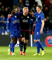 The Leicester City players celebrate their sides win over Sevilla - Mandatory by-line: Robbie Stephenson/JMP - 14/03/2017 - FOOTBALL - King Power Stadium - Leicester, England - Leicester City v Sevilla - UEFA Champions League round of 16, second leg