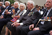 Wartime forces sweetheart Dame Vera Lynn along with veteran RAF pilots, make an appearance at the 70th anniversary of WW2 Battle of Britain. Seventy years ago, Winston Churchill made one of his most stirring speeches in Parliament to praise the Battle of Britain aircrews who had fought off the threat of Nazi invasion during the summer of 1940. In the 1940s, Dame Vera's personality warmed those fighting abroad, her voice singing some of the most stirring ballads that allied soldiers, sailors and airmen heard to remind them of home. Here she stands beneath the full-size model of the Merlin-powered propeller of this iconic fighter that helped stop a full-scale Nazi invasion of the British Isles.