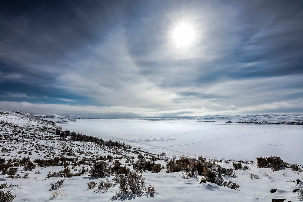 Winter Snow Pack on Magic Reservoir in South Central Idaho is a source for recreation and irrigation.  Licensing and Open Edition Prints.