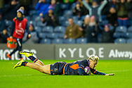 Darcy Graham (#14) of Edinburgh Rugby scores his fourth try during the European Rugby Challenge Cup match between Edinburgh Rugby and SU Agen at BT Murrayfield, Edinburgh, Scotland on 18 January 2020.