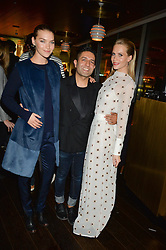 ARIZONA MUSE, OSMAN YOUSEFZADA and POPPY DELEVINGNE at the Launch Of Osman Yousefzada's 'The Collective' 4th edition with special guest collaborator Poppy Delevingne held in the Rumpus Room at The Mondrian Hotel, 19 Upper Ground, London SE1 on 24th November 2014, sponsored by Storm models and Beluga vodka.