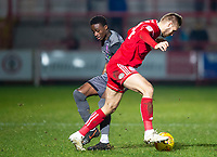 Lincoln City's Jordan Adebayo-Smith battles with Accrington Stanley's Nick Anderton<br /> <br /> Photographer Andrew Vaughan/CameraSport<br /> <br /> The EFL Checkatrade Trophy Second Round - Accrington Stanley v Lincoln City - Crown Ground - Accrington<br />  <br /> World Copyright © 2018 CameraSport. All rights reserved. 43 Linden Ave. Countesthorpe. Leicester. England. LE8 5PG - Tel: +44 (0) 116 277 4147 - admin@camerasport.com - www.camerasport.com