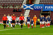 The teams are led out onto the pitch during the U21 UEFA EUROPEAN CHAMPIONSHIPS match Scotland vs England at Tynecastle Stadium, Edinburgh, Scotland, Tuesday 16 October 2018.