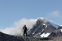 Man hiking at Svalbard