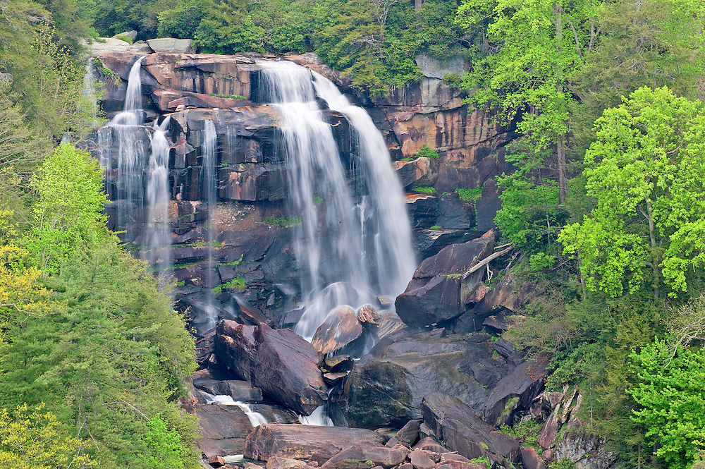 Whitewater Falls in Early Spring Forest, North Carolina