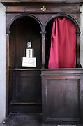 close up of confessional