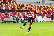 Brentford WIN, Brentford forward Marcus Forss (15) makes it 4-2 on penalties, during the EFL Cup match between Brentford and Wycombe Wanderers at Brentford Community Stadium, Brentford, England on 6 September 2020.