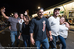 With Lakeside Avenue in Weirs Beach closed to car traffic during the rally, everyone loves hanging out there on the last night of Laconia Motorcycle Week, New Hampshire, USA. Saturday June 17, 2017. Photography ©2017 Michael Lichter.