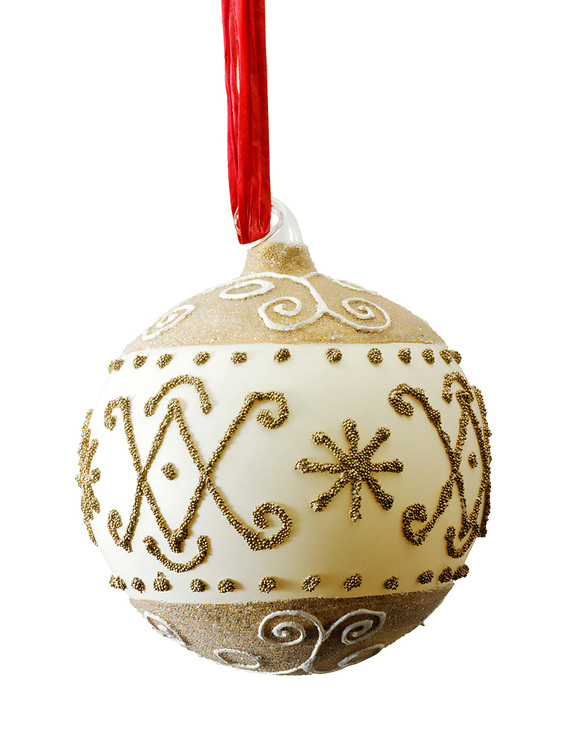 Gold and white artisan hand made traditional Christman bauble tree decoration, cut out