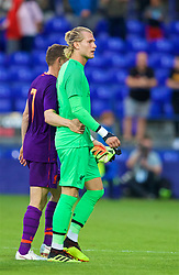 BIRKENHEAD, ENGLAND - Tuesday, July 10, 2018: Liverpool's goalkeeper Loris Karius walks off dejected during a preseason friendly match between Tranmere Rovers FC and Liverpool FC at Prenton Park. (Pic by Paul Greenwood/Propaganda)