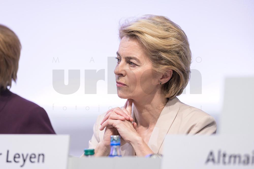 22 NOV 2019, LEIPZIG/GERMANY:<br /> Ursula von der Leyen, CDU, gewaehlte Praesidentin der Europaeischen Kommission, CDU Bundesparteitag, CCL Leipzig<br /> IMAGE: 20191122-01-041<br /> KEYWORDS: Parteitag, party congress
