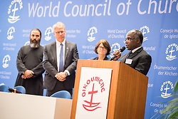 """18 September 2017, Geneva, Switzerland: The World Council of Churches formally opens the """"12 Faces of Hope"""" exhibition at the Ecumenical Centre in Geneva. The exhibition faces 12 people from Israel and Palestine, sharing testimonies of hope, towards a future of justice and peace in the Holy Land. Here, Brighton Ltengano Killewa from the Evangelical Lutheran Church in Tanzania."""