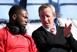 Charlton Athletic caretaker manager Lee Bowyer (right) before the Sky Bet League One play-off second leg match at Montgomery Waters Meadow, Shrewsbury.
