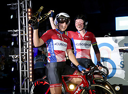 Neah Evans (left) and Katie Archibald celebrate winning the Women's 20km Madison during day two of the Six Day Series Manchester at the HSBC UK National Cycling Centre.