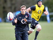 Johnny Wilkinson catches a pass during the England elite player squad trainnig session at Pennyhill Park, Bagshot, UK, on 11th March 2011  (Photo by Andrew Tobin/SLIK images)