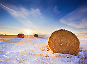 Straw bales in winter, central Montana.