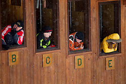 Jury in tower during Normal Hill Individual Competition at FIS World Cup Ski jumping Ladies Ljubno 2012, on February 12, 2012 in Ljubno ob Savinji, Slovenia. (Photo By Vid Ponikvar / Sportida.com)