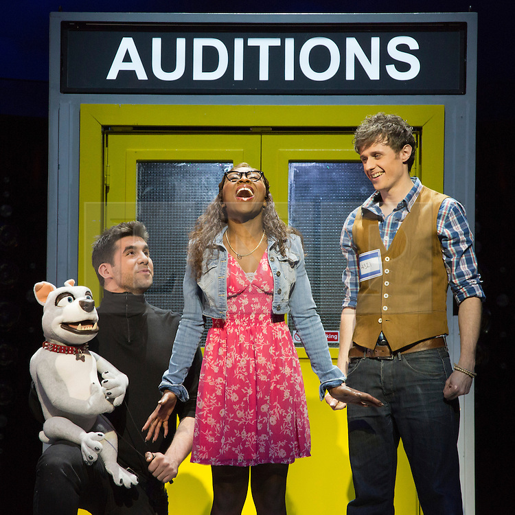 "© Licensed to London News Pictures. 21 March 2014. London, England. L-R: Simon Lipkin as Barlow the Dog, Cynthia Erivo as Chenice and Alan Morrissey as Max. Photocall for the Simon Cowell X-Factor Musical ""I Can't Sing!"" written by Harry Hill and Steve Brown at the London Palladium. Directed by Sean Foley with Nigel Harman as Simon, Victoria Elliott as Jordy and Ashley Knight as Louis. Photo credit: Bettina Strenske/LNP"