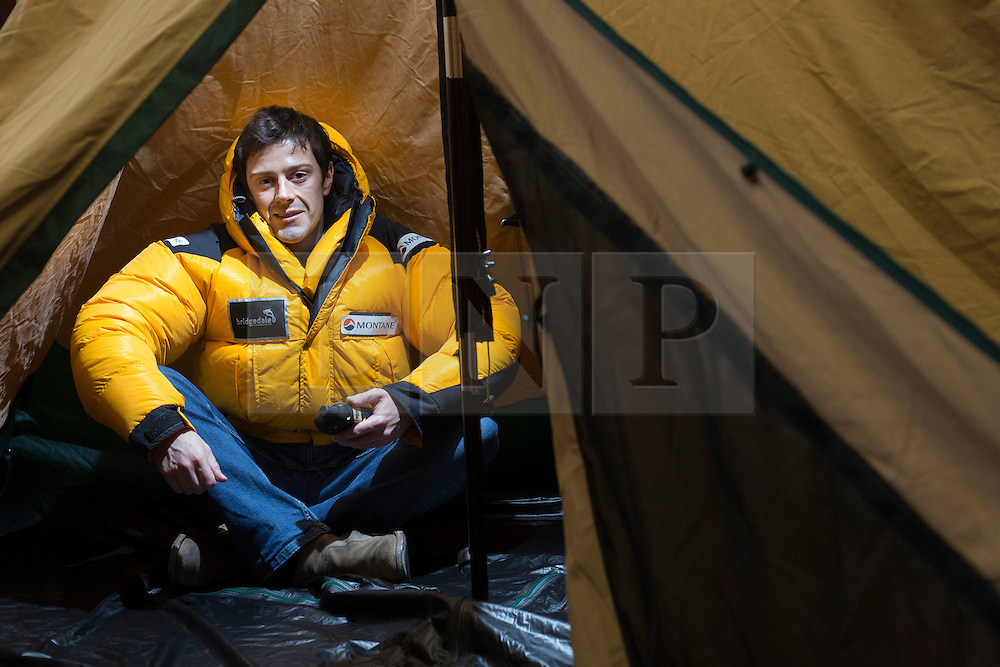© licensed to London News Pictures. London, UK 28/11/2012. World record holding polar explorer Alex Hibbert (pictured) and fellow British explorer Justin Miles planning to be the first ones to go to North Pole unsupported in winter and double the length of the usual route, which is 450 miles longer. The explorers will be traveling in complete darkness and by using torch light. Their project called 'The Dark Ice Project' and in total it will take 2800 miles and 2 years to complete. Photo credit: Tolga Akmen/LNP