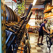 The demo storage and in-house testing area for Santa Cruz Bicycles world headquarters in Santa Cruz, California.