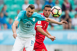 Milivoje Novakovic of Slovenia vs Clayton Failla of Malta during football match between National teams of Slovenia and Malta in Round #6 of FIFA World Cup Russia 2018 qualifications in Group F, on June 10, 2017 in SRC Stozice, Ljubljana, Slovenia. Photo by Vid Ponikvar / Sportida