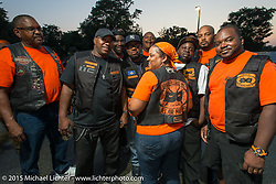 Club meetup at the American Legion in Catonsville, MD with the Flying Eagles MC (founded 1950). USA. August 16, 2015.  Photography ©2015 Michael Lichter.