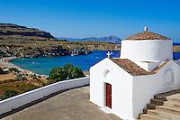 Grece, Dodecanese, Rhodes, Lindos, la plage // Greece, Dodecanese archipelago, Rhodes island, Lindos beach
