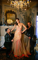Rebecca Twigley & J Aton Couture boys Jacob  left  & Anthony  right  at J Aton Couture @ 185 Greville Street, Prahran fitting Rebecca for Brownlow night.      Pic By Craig Sillitoe. The Sunday Age melbourne photographers, commercial photographers, industrial photographers, corporate photographer, architectural photographers, This photograph can be used for non commercial uses with attribution. Credit: Craig Sillitoe Photography / http://www.csillitoe.com<br /> <br /> It is protected under the Creative Commons Attribution-NonCommercial-ShareAlike 4.0 International License. To view a copy of this license, visit http://creativecommons.org/licenses/by-nc-sa/4.0/.