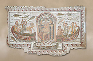 Late 4th century AD Roman mosaic panel of  Venus, Aphrodite, on a boat crowning herself accompanied by six dwarfs. From Cathage, Tunisia.  The Bardo Museum, Tunis, Tunisia. .<br /> <br /> If you prefer to buy from our ALAMY PHOTO LIBRARY  Collection visit : https://www.alamy.com/portfolio/paul-williams-funkystock/roman-mosaic.html - Type -   Bardo    - into the LOWER SEARCH WITHIN GALLERY box. Refine search by adding background colour, place, museum etc<br /> <br /> Visit our ROMAN MOSAIC PHOTO COLLECTIONS for more photos to download  as wall art prints https://funkystock.photoshelter.com/gallery-collection/Roman-Mosaics-Art-Pictures-Images/C0000LcfNel7FpLI