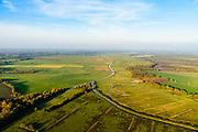 Nederland, Drenthe, Norg, 28-10-2014; beekdal van De Slokker (overgaand in Aa of Grote Diep, ten westen van Norg). In de jaren 60 van de vorige eeuw is de beek gekanaliseerd, er wordt gewerkt aan beekherstel.<br /> Smaal stream or brook, once channeled, northern provincie Drenthe.<br /> <br /> luchtfoto (toeslag op standaard tarieven);<br /> aerial photo (additional fee required);<br /> copyright© foto/photo Siebe Swart