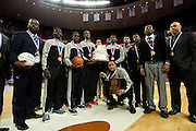 Dallas Triple A Academy celebrates with his championship medal after defeating Mumford in the UIL 1A division 1 state championship game at the Frank Erwin Center in Austin on Saturday, March 9, 2013. (Cooper Neill/The Dallas Morning News)