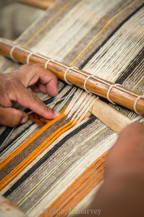 Detail of a backstrap loom, a type dating from Inca times, Otavalo, Ecuador, South America