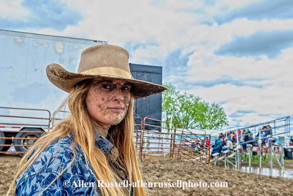 Miles City Bucking Horse Sale, Brittany Miller, Ranch Bronc Rider, bucked off in mud, Montana