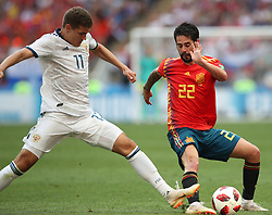 MOSCOW, July 1, 2018  Isco (R) of Spain vies with Roman Zobnin of Russia during the 2018 FIFA World Cup round of 16 match between Spain and Russia in Moscow, Russia, July 1, 2018. (Credit Image: © Wu Zhuang/Xinhua via ZUMA Wire)