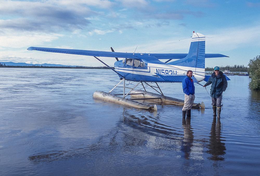 Dave Wukasch and John Willits , float plane shuttle, Ambler, Alaska. August 1994