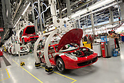 The Ferrari assembly line is seen at the company plant in Maranello, Italy, on Monday, July 18, 2011.<br /> Photo: Victor Sokolowicz/Bloomberg