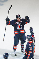 KELOWNA, CANADA - MARCH 26: Collin Shirley #15 of Kamloops Blazers celebrates a goal against the Kelowna Rockets on March 26, 2016 at Prospera Place in Kelowna, British Columbia, Canada.  (Photo by Marissa Baecker/Shoot the Breeze)  *** Local Caption *** Collin Shirley;