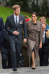 The Duke and Duchess of Sussex during a visit to the newly unveiled UK war memorial and Pukeahu National War Memorial Park, in Wellington, on day one of the royal couple's tour of New Zealand.