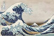 The Great Wave off the coast at Kanagawa, c1830.  From 'Thirty-six Views of Mount Fuji', c1831.  Katsushika Hokusai (1760-1849)  Japanese Ukiyo-e artist. Men crouch in boats as huge wave towers over them. Sea Power