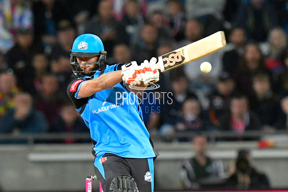 Ross Whiteley of Worcestershire hits the ball to the boundary for four runs during the final of the Vitality T20 Finals Day 2018 match between Worcestershire Rapids and Sussex Sharks at Edgbaston, Birmingham, United Kingdom on 15 September 2018.
