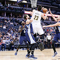 01 February 2016: Denver Nuggets center Jusuf Nurkic (23) is fouled by Memphis Grizzlies center Marc Gasol (33) during the Memphis Grizzlies 119-99 victory over the Denver Nuggets, at the Pepsi Center, Denver, Colorado, USA.