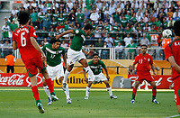 Photo: Glyn Thomas.<br />Mexico v Iran. Group D, FIFA World Cup 2006. 11/06/2006.<br /> Zinha (C) heads in Mexico's third goal.