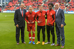 September 3, 2017 - Toronto, Canada - Players Marcel de Jong, Nik Ledgerwood, and Tosaint Ricketts  before the Canada-Jamaica Men's International Friendly match at BMO Field in Toronto, Canada, on 2 September 2017. (Credit Image: © Anatoliy Cherkasov/NurPhoto via ZUMA Press)